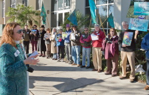 Merrillee Maltwitz-Jipson of Our Santa Fe River addresses the Clean Water Rally in Gainesville, FL, Jan. 2014, part of a statewide Clean Water initiative.